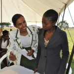 CURE Zambia employees, Charity Mathenge-Nduna and Dina Madzivanyika greet guests