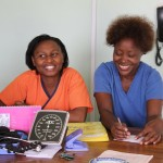 Precious (left) & Vuniwe manning the ship at the OPD clinic