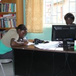Kasalwe (left) and Rev. Na Haamumba busy at work in the Spiritual Centre