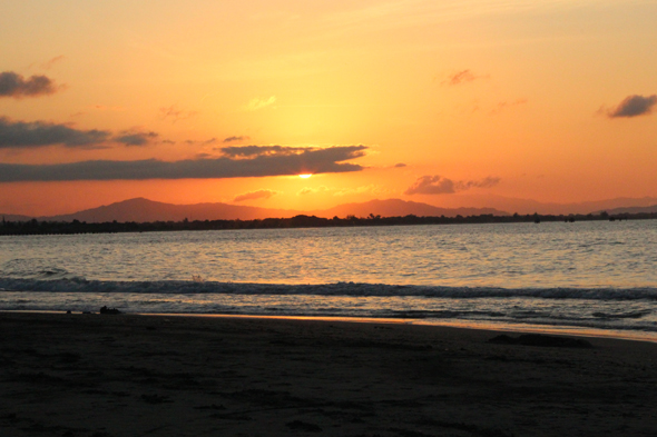 Sunset at beach in Tela in Honduras