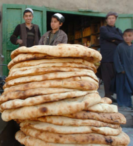 A stack of naan, a bread from Afghanistan