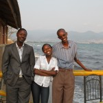 Christine with Pascal Kayishema (Burundi Coordinator) and Gilbert Bizimungu (Manager of partner organization, RCPHB) on Lake Tanganika, Burundi