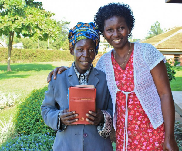 Spiritual Director Miriam Ongom visited with a lady who came to know Christ while at CURE.  She returned to CURE to share her testimony.